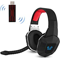 HUHD Wireless Headset 2.4Ghz Optical Stereo Sound with Detachable Wireless Gaming Headset Microphone Noise Cancelling for PS4 and PC