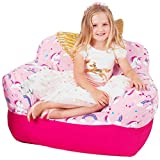 Yayme! Pink Unicorn Beanbag Chair Cover   Our Bean Bag for Girls is Comfy and Shaped Like an Armchair   This Cute Design Will Make Every Princess's Room Look Pretty While Reading or Playing