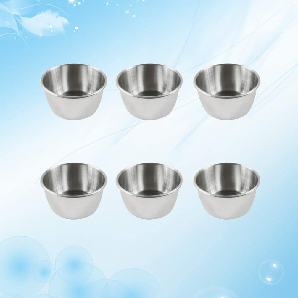 Hemoton 12pcs Saucer Dishes Stainless Steel Sauce Dishes Round Seasoning Dishes Sushi Dipping Bowl Saucers Bowl Mini Appetizer Plates