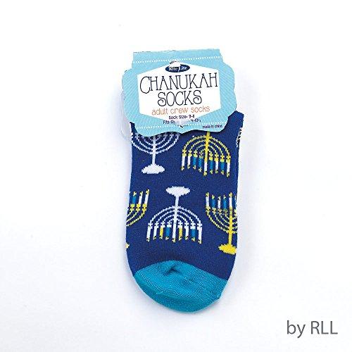 (Hanukkah Socks - Hanukkah Menorah Crew Socks - Adult Sock Size 9-11. Fits Shoe Size 4-10)