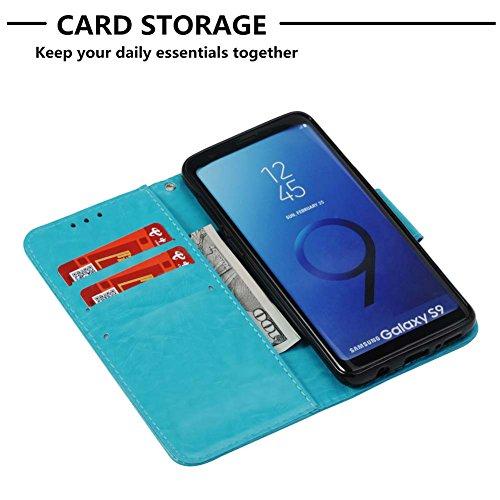 Flip Handyhüllen für Samsung S9, Samsung S9 Leder Hüllen Flip Case, Magnetverschluss Kartenfach Ständer Handytasche für Samsung S9, Sehr Dünn Prägung Eleganter Flamingo Muster Abnehmbar Handy Lanyard  C- Himmelblau