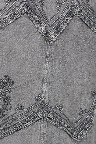 Stonewashed Rayon bretelles Sakkas rglables longue Robe brode Gris qfOwHw4x