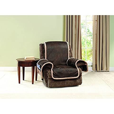 Sure Fit Vintage Faux Leather Polyester Recliner Furniture Protector - Montgomery Swivel