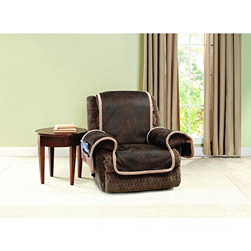 Sure Fit Vintage Faux Leather Polyester Recliner Furniture Protector 198424120N_RECLINER
