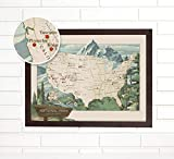 "Explorers, hikers, campers, conservationists - mark all of the natural wonders you have witnessed with this 18""x24"" woodsy vintage push pin travel map that includes all 59 USA National Parks. This USA push pin map makes a thoughtful wedding, annivers..."