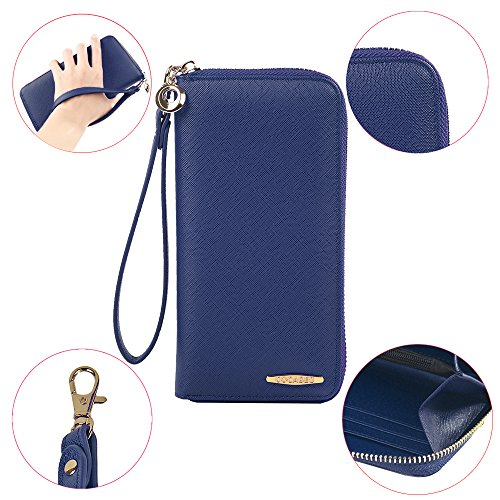 Capacità beige Donna Cocases Portafoglio Polso Grande Zip Clutch Pu Pochette cerniera Con Di Pelle Cinturino Per qRH8nZR