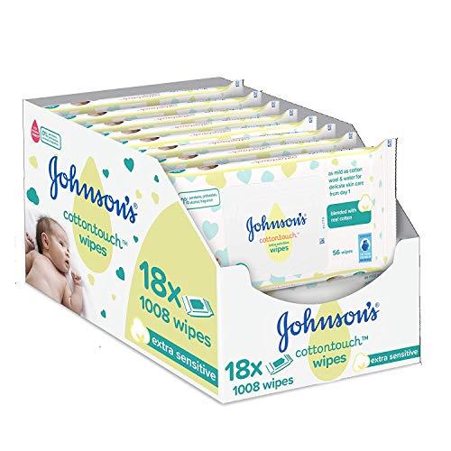 🥇 Johnson's Baby CottonTouch  Toallitas con Algodón Auténtico – 18 packs de 56 Toallitas – Total: 1008 Toallitas