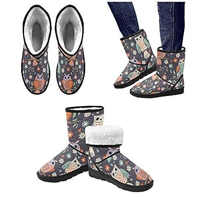 Artsadd Winter Boots Happy Owl Custom Unisex Snow Boots M047 for Women