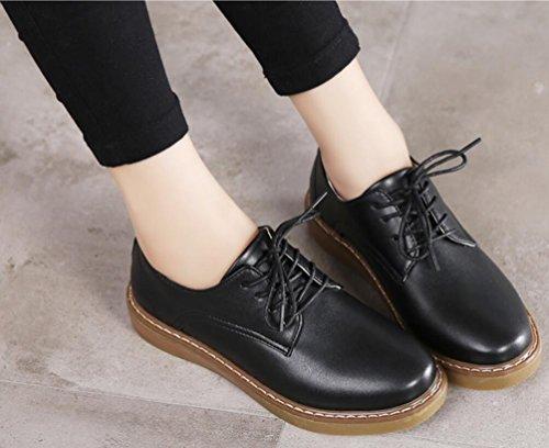 Platta Oxford Skor Kvinnor, Casual Skoluniform Dress Shoe Arbete Använda Anti-sladd Årgång London Svart