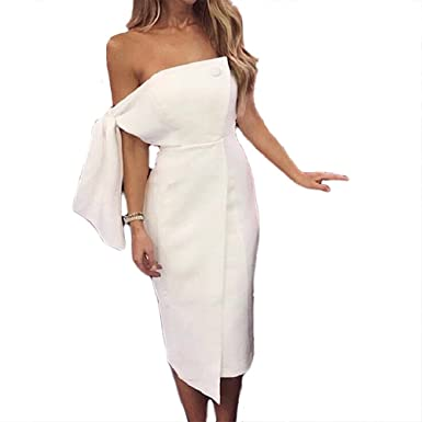 f895137634a White Women Dresses New Summer Arrival Party Dress Casual One Shoulder  Button Elegant tie Tassel mid