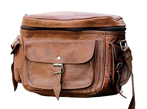 Leather Camera Digital Camera - LUST Leather Big Camera DSLR Padded Digital Camera Bag for With Lens Partition