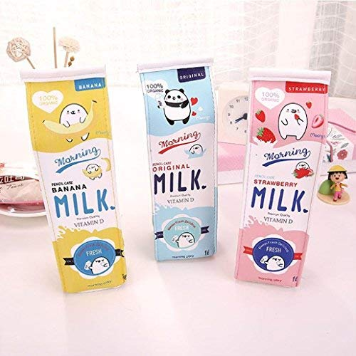 Fablcrew - Estuche con cremallera, diseño de cartón de leche, color azul 20*5*6 cm
