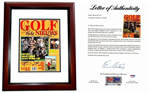 (Payne Stewart Autographed Signed 1993 Ryder Cup Magazine Cover Mahogany Custom Frame plus 8 more autographs including Davis Love III - PSA/DNA Full Letter of Authenticity (COA) )