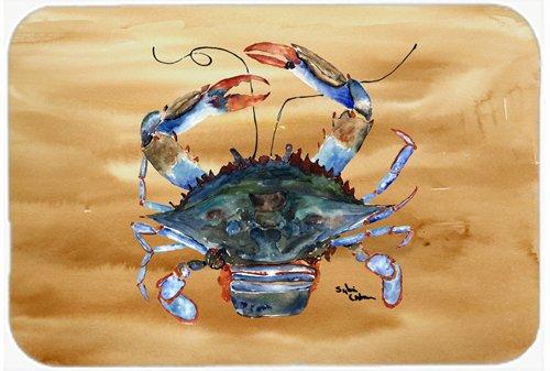 Large Carolines Treasures 8156LCB Crab Glass Cutting Board Multicolor