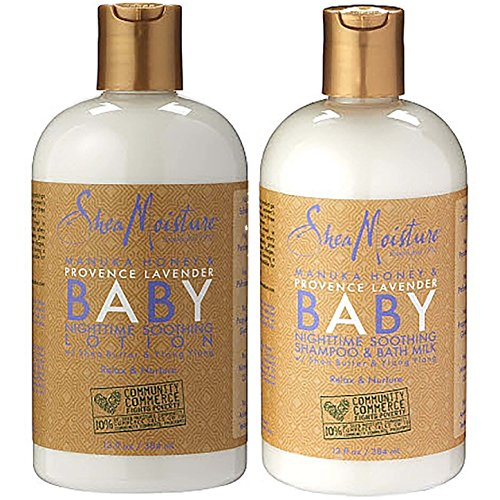 Shea Moisture Manuka Honey & Provence Lavender Baby Nighttime Soothing Lotion 13 fl oz. | Baby Nighttime Soothing Shampoo & Bath Milk 13 fl oz.
