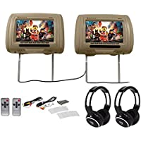 Rockville RHP91-BG 9 Digital Panel Beige Headrest Monitors+Wireless Headphones