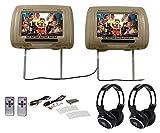 Rockville RHP91-BG 9 Digital Panel Beige Headrest Monitors+Wireless Headphones