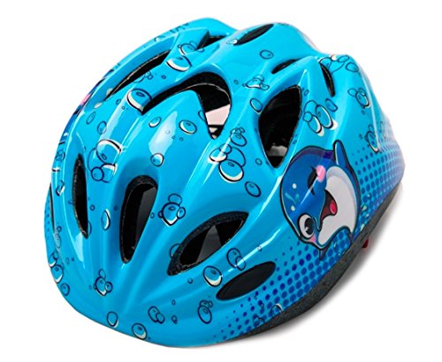 Dolphin Multi-sport Kid Helmet Children Child Toddler Outdoor Skate-boarding Cycling Helmet Safety Helmet Protective Gear Age 3-5 5-12 Boys Girls Adjustable Dial & Warning Tail Light (ocean blue)