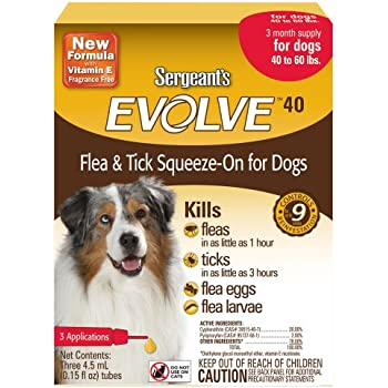 Sergeants Evolve 40 Flea and Tick Squeeze-On, Dog,40 to 60-Pound