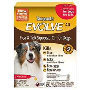 Sergeant's Evolve 40 Flea and Tick Squeeze-On, Dog,40 to 60-Pound 96
