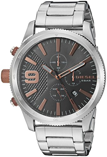 Chronograph Diesel Watch (Diesel Men's 'Rasp Chrono 46' Quartz Stainless Steel Casual Watch, Color Silver-Toned (Model: DZ4457))