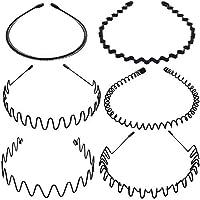 Voarge 6 stuks metalen haarband zwart veer golf haarband multi-stijl unisex flexibele hoofdband accessoires zwart voor…