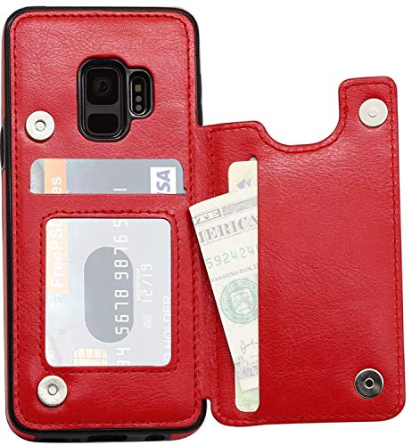 for Samsung Galaxy S7 Case (NOT Plus), Marval.P Slim Premium Leather Wallet Case Card Slots Shockproof Folio Flip Protective Defender Shell Magnetic Clasp Kickstand Holder Cover (Hot Love)