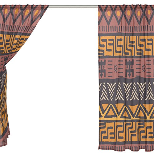 Hokkien Blue Viper African Mud Cloth Tribal Design Sheer Window Curtains Voile Treatment Panels Rod Pocket Personalized Home Decor for Living Room Bedroom, 2-Piece 55 x 84 inch