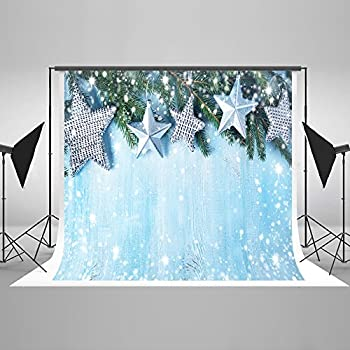 Image of Backgrounds 10ft(W) x10ft(H) Firtree Christmas Photo Background Blue Wood Boards with Stars Backdrop Silver Bokeh Glitter Dots Photo Studio Props for Christmas and Happy New Year Background
