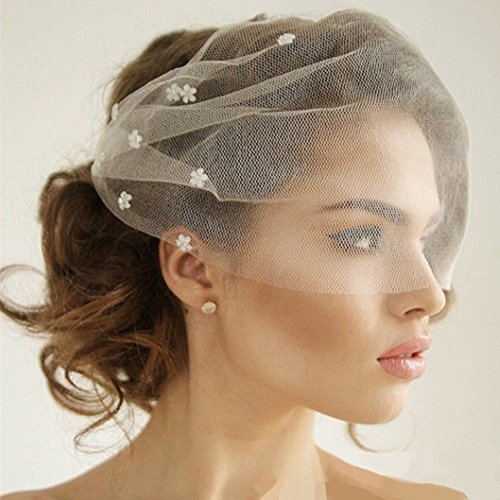 Auch Elegant Flower Crystal Birdcage Veil for Bride, Bridal Short Veil with Comb for Wedding, White