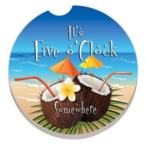 CounterArt Absorbent Stoneware Car Coaster, Five O'clock Coconuts