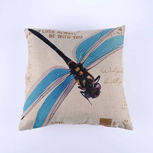 Rural colour dragonfly oil painting illustration Do old nostalgic retro cushion for leaning on pillow case