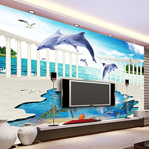 LHDLily 3D Wallpaper Mural Wall Sticker Thickening Wall Paper Stereoscopic Underwater World Children'S Room Living Room Wall Dolphin 400cmX300cm by LHDLily