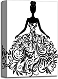 Vector Silhouette of Young Woman in Dress Gallery Wrapped Canvas Art (18in. x 12in.)