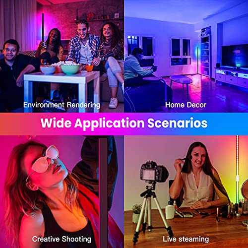 LED Stehlampe Dimmbar 20W RGB Standleuchte mit Fernbedienung Modern Wohnzimmer Stimmungslicht Stehleuchte Farbwechsel Lichtsaeule Nachtlicht Ecklampe für Schlafzimmer Uverbon