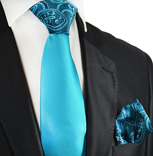Blue Atoll Contrast Knot Tie and Pocket Square by Paul Malone