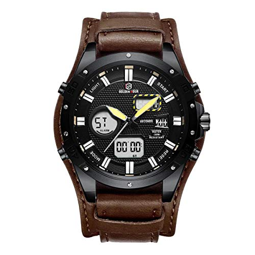 Large Cuff Watches Dual-time 12h/24h Calendar LED Analog Digital Wrist Watches Wide Leather Strap Retro Men Watches, Dark Brown ()