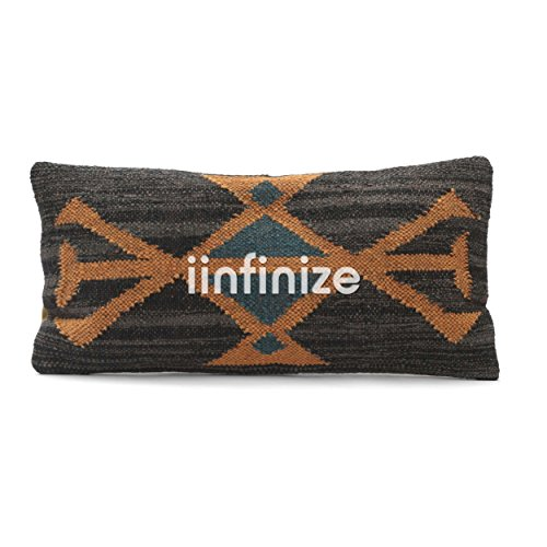 iinfinize - Indian Wool Jute Kilim Pillow Cover Decorative Abstract Design Black Hippie Handwoven Rectangle Shape Throw Home Decor Sham Decorative Stylish Rest Pillow Floor Cushion Cover 12x24 ()