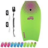 BPS 37' Body Board Pack for Kids and Adult - Lightweight Boogie Board w/HDPE Slick Bottom for Additional Speed and Maneuverability - Bodyboard with Includes Leash Coiled and FIN Leash (Green/Purple)