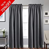 Cheap H.VERSAILTEX 100% Blackout Curtain Panels Window Draperies Insulating Room Darkening Blackout Drapes for Bedroom Back Tab/Rod Pocket Draperies 84 Inch Set of 2 – Charcoal Gray