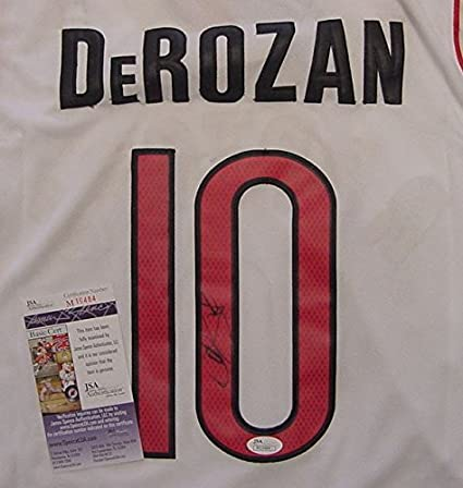 Image Unavailable. Image not available for. Color  DeMar DeRozan Toronto  Raptors Autographed White  10 Jersey JSA COA 80c13dece