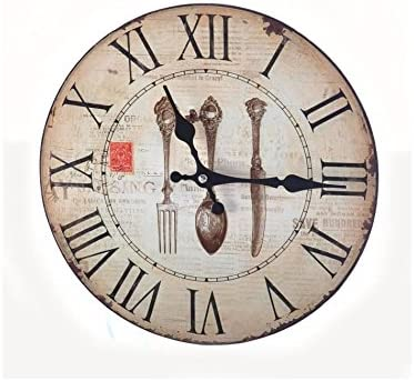 Cutlery Horloge Murale O28 Cm Beige Et Marron Amazon Fr Bricolage