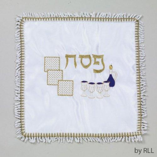 UPC 089824299838, Square Embroidered Matzah Cover, Matzah and Wine Design