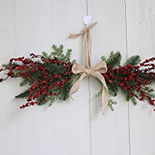Christmas Wreath Door Wall Ornament Xmas Hanging Ornament Pentagram Hanging Decoration with Bowknot FANOUD