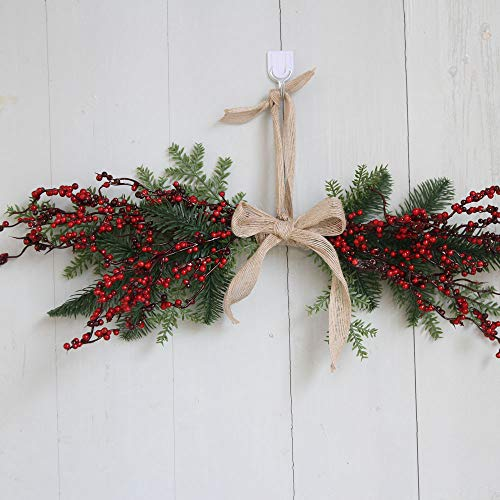 Christmas Wreath Door Wall Ornament Xmas Hanging Ornament Pentagram Hanging Decoration With Bowknot FANOUD for $<!--$5.59-->