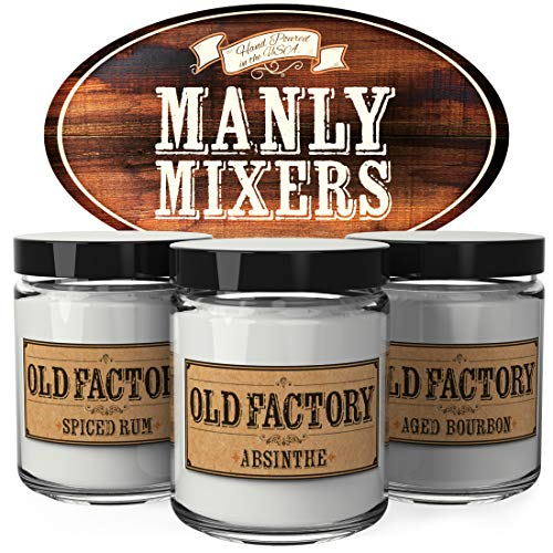 - Old Factory Scented Candles for Men - Manly Mixers - Decorative Aromatherapy - Handmade in The USA with Only The Best Fragrance Oils - 3 x 4-Ounce Soy Candles