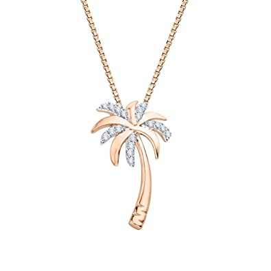 Amazon diamond palm tree pendant necklace in 10k rose gold 1 diamond palm tree pendant necklace in 10k rose gold 110 cttw mozeypictures Choice Image