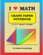 """I [don't] LOVE MATH Graph Paper Notebook: 1/4 inch thin (0.5 pt) and 1 inch thicker (1 pt) light gray squares (imperial, 120 pages): double-sided, non-perforated, perfect binding, 8.5"""" x 11"""""""