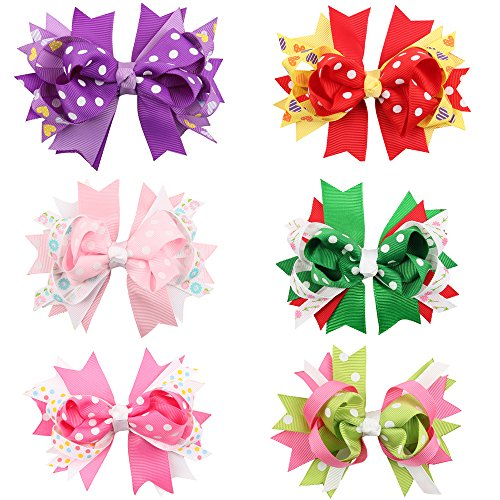ROEWELL Cute Baby's and Girl's Grosgrain Hair Bows Hair Clips - Number Class Tracking First International