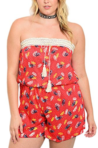 Limit 33 Plus Size Juniors Teens Floral Strapless Tube Stretchy Romper Jumpsuit Shorts Red Size 2X (Teenager Rompers)